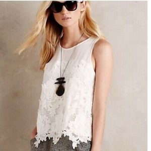 Anthropologie Greylin White Nareh Lace Tank